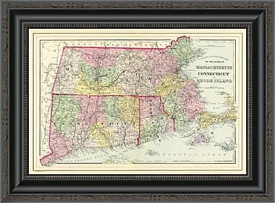 East Urban Home 'Massachusetts; Connecticut ; Rhode Island; 1890' Framed Print