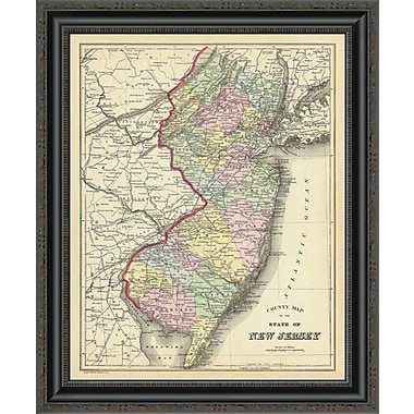East Urban Home 'State of New Jersey; 1890' Framed Print; 40'' H x 21'' W x 1.5'' D