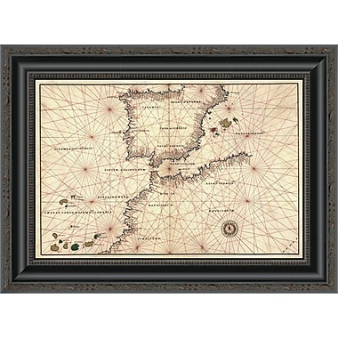 East Urban Home 'Portolan or Navigational Map of the Spain; Gibraltar & North Africa' Framed Print