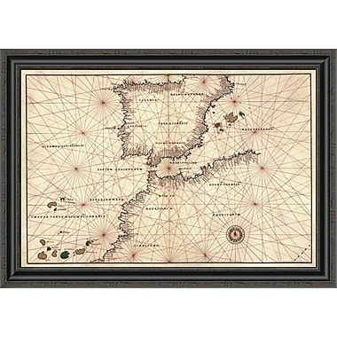 East Urban Home 'Portolan or Navigational Map of the Spain; Gibraltar & North Africa' Framed Print