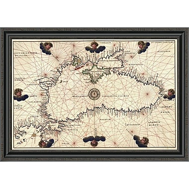 'Portolan or Navigational Map of the Black Sea Showing Anthropomorphic Winds' Framed Print
