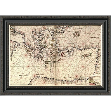 'Portolan or Navigational Map of Greece; the Mediterranean and the Levant' Framed Print