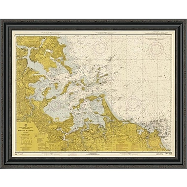 East Urban Home 'Nautical Chart - Boston Harbor CA. 1970 - Sepia Tinted' Framed Print