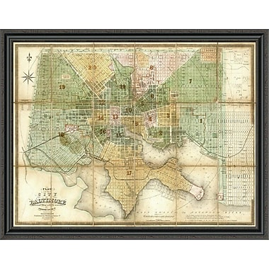 East Urban Home 'Baltimore; Maryland; 1852' Framed Print; 34'' H x 44'' W x 1.5'' D