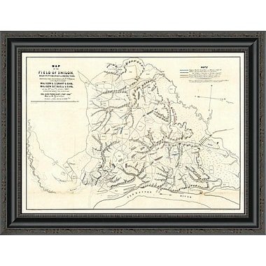 'Civil War Map of the Field of Shiloh; Near Pittsburgh Landing; Tennessee; 1862' Framed Print