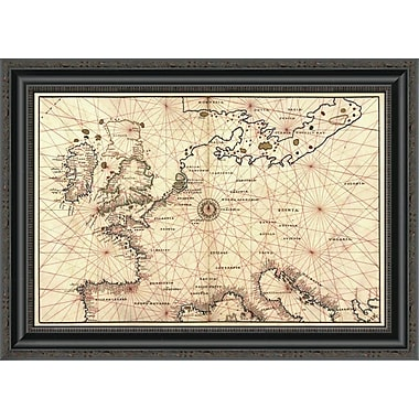East Urban Home 'Portolan Map of Spain; England; France; Germany; the British Isles' Framed Print