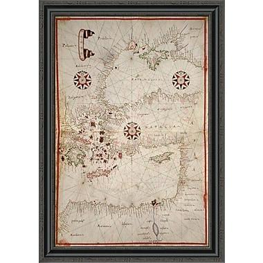 East Urban Home 'Portolan Map of Turkey; Mediterranean; Adriatic and the Agean' Framed Print
