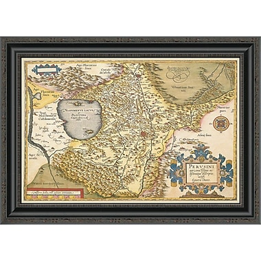 East Urban Home 'Map of Italy Near Florence' Framed Print; 34'' H x 26'' W x 1.5'' D