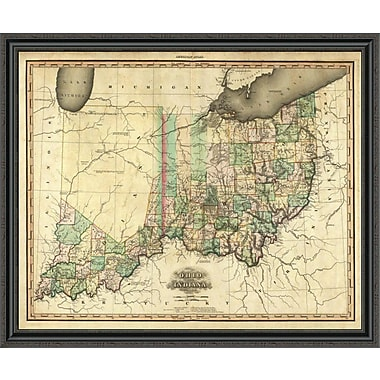 East Urban Home 'Ohio and Indiana; 1823' Framed Print; 34'' H x 44'' W x 1.5'' D