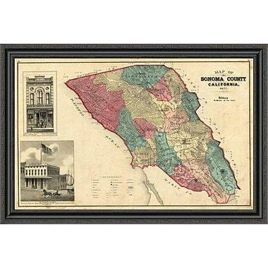 East Urban Home 'Map of Sonoma County California; 1877' Framed Print; 18'' H x 40'' W x 1.5'' D