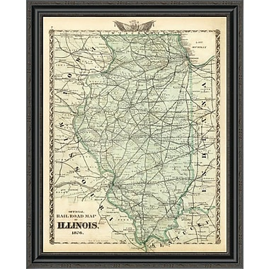 East Urban Home 'Official Railroad Map of the State of Illinois; 1876' Framed Print