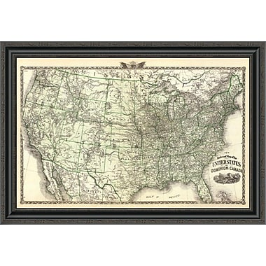 East Urban Home 'New Railroad Map of the United States and Dominion of Canada; 1876' Framed Print