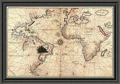 East Urban Home 'Portolan World Map' Framed Print; 34'' H x 40'' W x 1.5'' D