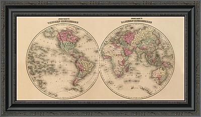 East Urban Home 'Johnson's World Map' Framed Print; 22'' H x 26'' W x 1.5'' D