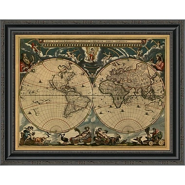 East Urban Home 'New & Accurate Map of the World' Framed Print; 19'' H x 26'' W x 1.5'' D