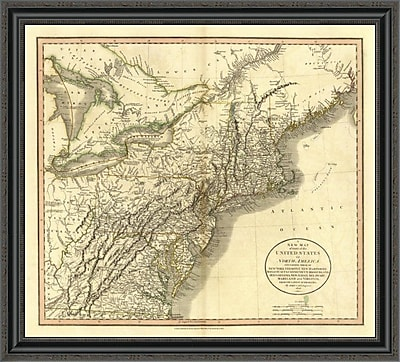 East Urban Home 'New York; Vermont; New Hampshire; 1806' Framed Print; 18'' H x 34'' W x 1.5'' D