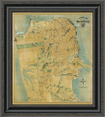 East Urban Home 'The ''Chevalier'' Map of San Francisco' Framed Print; 20'' H x 18'' W x 1.5'' D