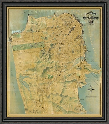 East Urban Home 'The ''Chevalier'' Map of San Francisco' Framed Print; 40'' H x 35'' W x 1.5'' D