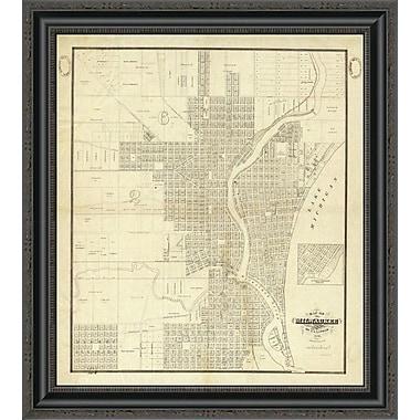 East Urban Home 'Map of Milwaukee; 1856' Framed Print; 14'' H x 23'' W x 1.5'' D