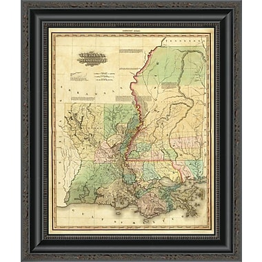East Urban Home 'Louisiana and Mississippi; 1823' Framed Print; 20'' H x 17'' W x 1.5'' D