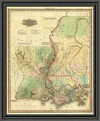 East Urban Home 'Louisiana and Mississippi; 1823' Framed Print; 40'' H x 33'' W x 1.5'' D