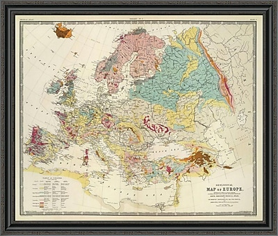East Urban Home 'Geological Map Europe; 1856' Framed Print; 26'' H x 40'' W x 1.5'' D