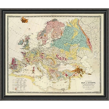 East Urban Home 'Geological Map Europe; 1856' Framed Print; 31'' H x 44'' W x 1.5'' D