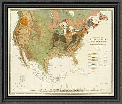 East Urban Home 'Geological Map of the United States; 1856' Framed Print; 29'' H x 34'' W x 1.5'' D