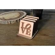 Gracie Oaks 5 Piece Love Lasercut Birch Coaster Set