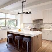 Gracie Oaks Dennis Retro Kitchen Linear Island Pendant Lighting, Clear Glass Shade, Black Finish
