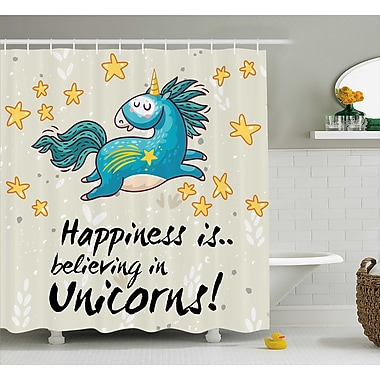 Harriet Bee Axel Quote Happiness Kids Shower Curtain; 69'' W x 70'' L