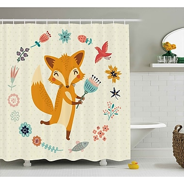 Harriet Bee Jefferson Cute Animal w/ Floral Shower Curtain; 69'' W x 70'' L