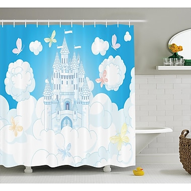 Harriet Bee Ulysses Magical Castle Butterfly Shower Curtain; 69'' W x 70'' L