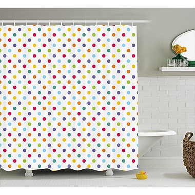 Harriet Bee Zakary Colorful Polka Dots Shower Curtain; 69'' W x 84'' L