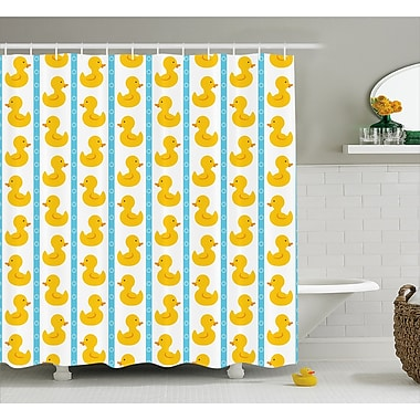Harriet Bee Jaleel Duck Baby Blue Stripes Shower Curtain; 69'' W x 75'' L