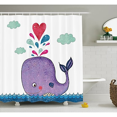 Harriet Bee Turner Smiley Whale w/ Cloud Shower Curtain; 69'' W x 75'' L