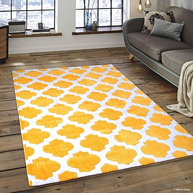 Harriet Bee Abbey Transitional Inverted Moroccan Canary Area Rug