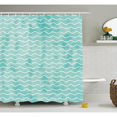 Highland Dunes Rossie Ocean Sea Wave Pattern Shower Curtain; 69'' W x 84'' L