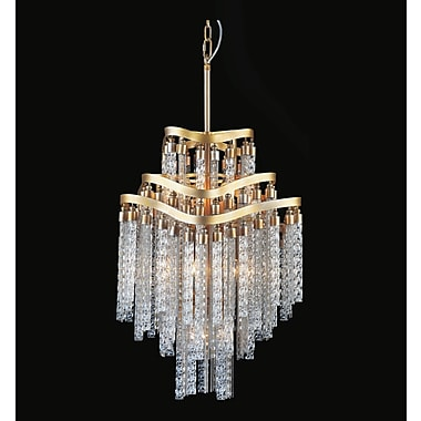 Everly Quinn Anemone 10-Light Waterfall Chandelier; Gold