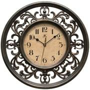 Fleur De Lis Living Bronze 12'' Round Plastic Wall Clock