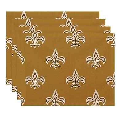 Fleur De Lis Living Bessie Fleur de Lis Ikat Print Placemat; Gold/Brown