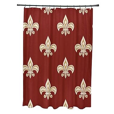 Fleur De Lis Living Best Fleur de Lis Ikat Print Shower Curtain; Orange