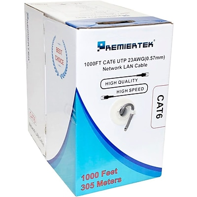 Premiertek Cat6 Bulk Cable 1000ft (Black)