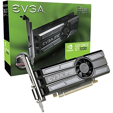 EVGA GeForce GT 1030 Graphic Card, 1.29 GHz Core, 1.54 GHz Boost Clock, 2 GB GDDR5, Low-profile, Dual Slot Space Required