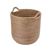 Highland Dunes Leonia Round Rattan Storage Basket w/ Ear Handles
