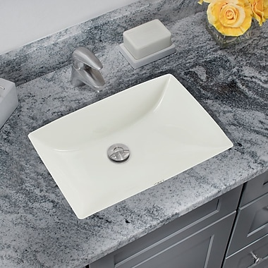IPT Sink Company Glazed Porcelain Rectangular Undermount Bathroom Sink w/ Overflow; Biscuit