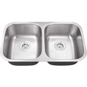 IPT Sink Company 16 Gauge Stainless Steel 32.25'' x 18.5'' Double Basin Undermount Kitchen Sink