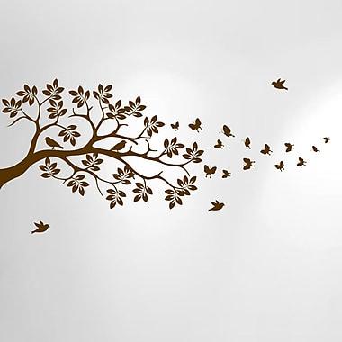 Innovative Stencils Tree Branch Butterfly Bird Vinyl Nursery Wall Decal; Brown