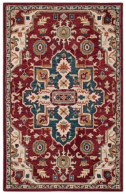 Loon Peak Bobigny Hand-Tufted Red/Blue Area Rug; Rectangle 8' x 10'