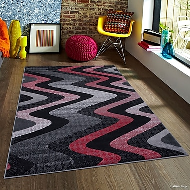 Latitude Run Keeler High-Quality Drop-Stitch Distressed Wavy Linear Lava Area Rug; 7'10'' x 10'